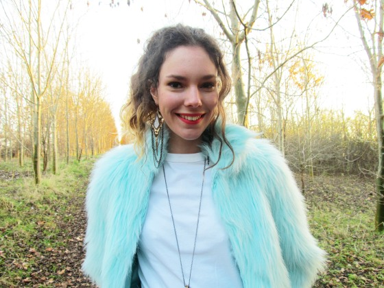 blue fur coat